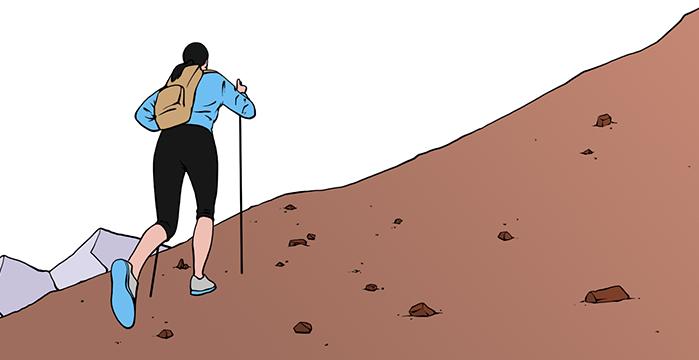 Runner climbing a hill.
